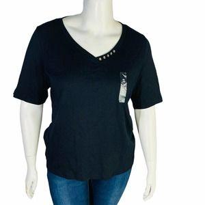 Karen Scott 0X 12 Black Shirt Top Button V Neck